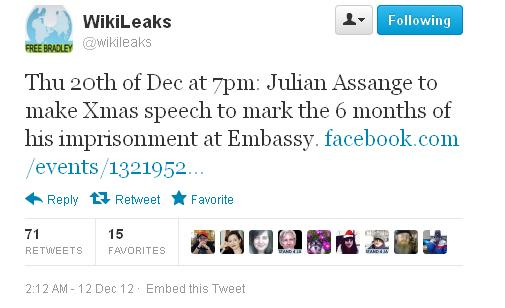Assange Xmas speech tweet